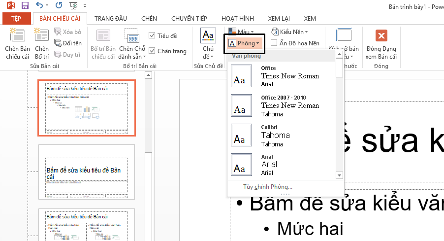 thay đổi phông chữ mặc định trong powerpoint