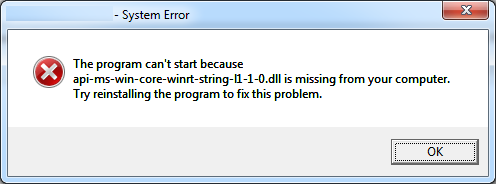 can't start because api-ms-win-crt-runtime-l1-1-0.dll is missing